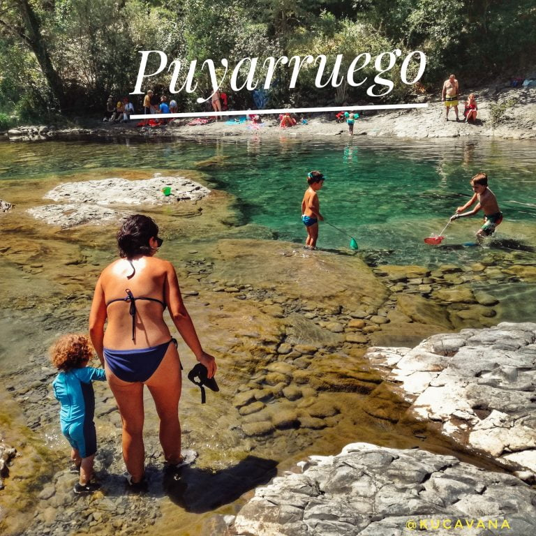 On a route through the Pyrenees in summer by motorhome: Pools of emerald waters in Puyarruego. Huesca Pyrenees with children 100%