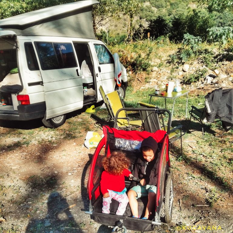 Rialp motorhome parking. Catalan Pyrenees by motorhome