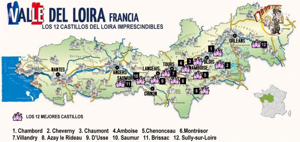 Castillos del Loira mapa