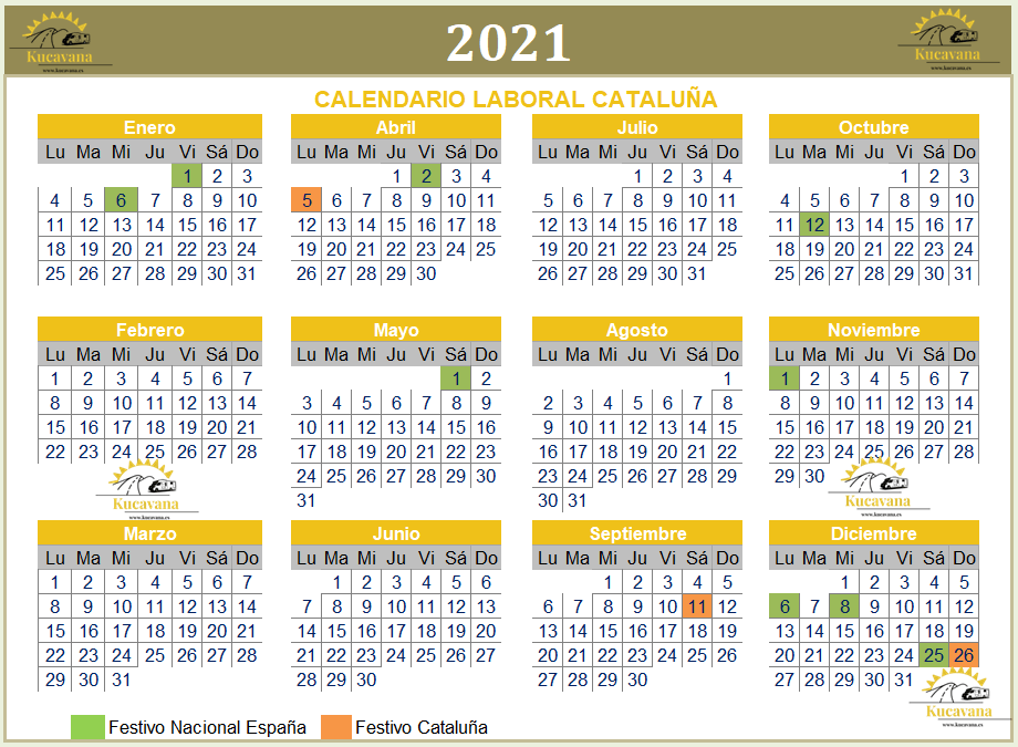 Calendario laboral 2021 Catalunya