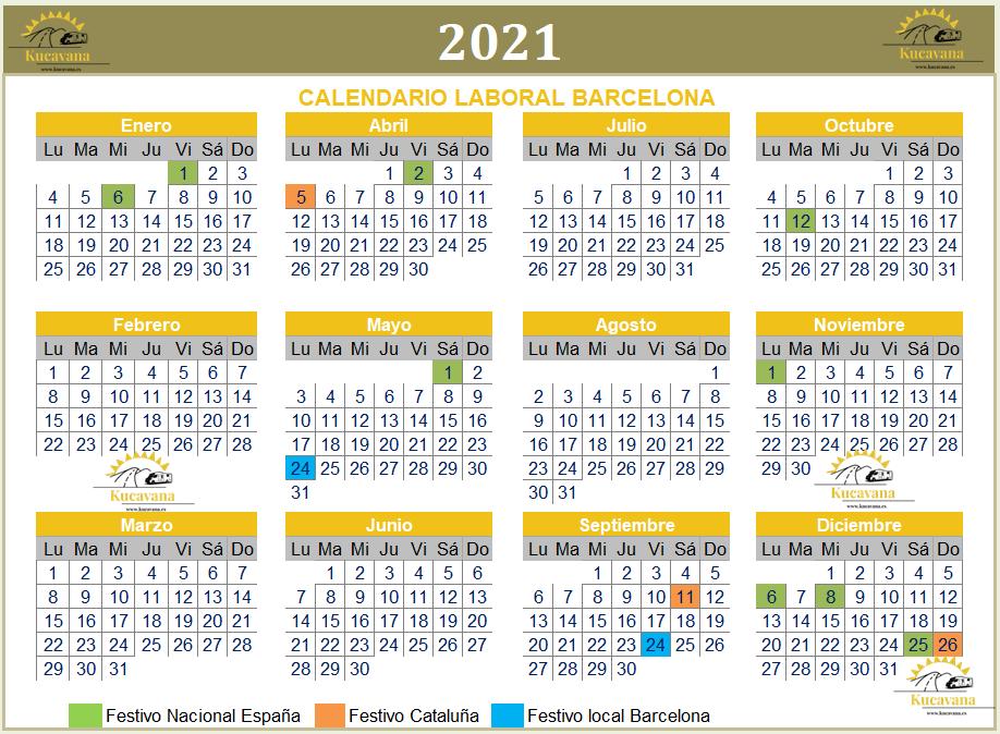 Arbeitskalender für Barcelona 2021 zur Planung unserer nächsten Feiertage nach Covid