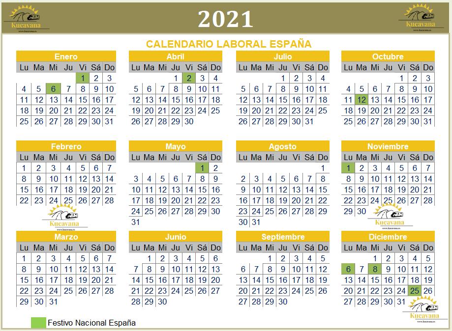 Calendario laboral de España 2021 para planificar nuestras próximas vacaciones esperemos Post-Covid