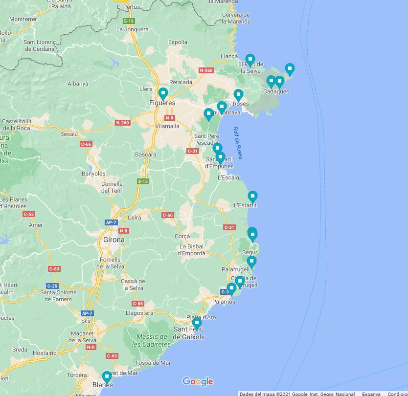 mappa della costa brava in camper