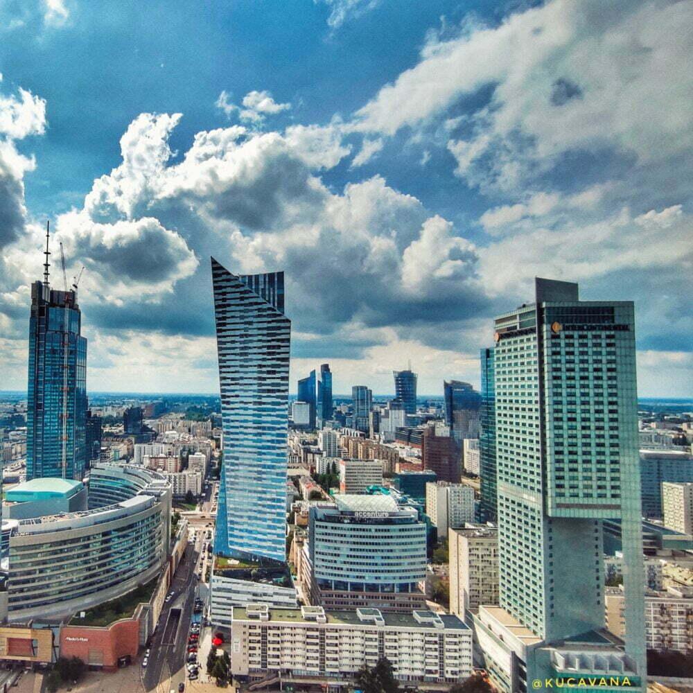 Vistas desde el Palacio de la cultura y ciencia de Varsovia de Stalin